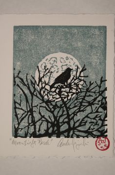 Moonlight Perch Card - Woodblock print by Andrew Jagniecki Linocut Prints, Art Prints, Block Prints, Vogel Illustration, Botanical Illustration, Impression Textile, Culture Art, Linoprint, Art Japonais