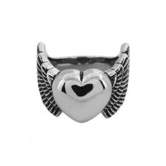 INOX⋆〜❥☠❥〜⋆ Heart With Wings Ring