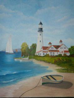 Sailboat & Lighthouse - My Paintings - Gallery - ArtBlast.com Forums