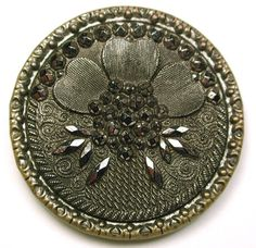 "Antique Glass in Metal Button Fancy Lacy Floral w/ Silver Luster 1 & 3/16""   $19.99"