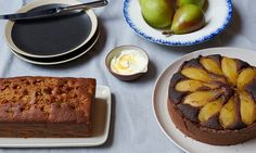 Ruby bakes: Forget about your worries by turning an autumnal glut of pears into an oozy ale and syrup cake, or poach them in sugar and saffron and use in a rich brownie tart Pear Recipes, Baking Recipes, Cake Recipes, Golden Syrup Cake, Pear Muffins, Pear Dessert, Delicious Desserts, Yummy Food, Baked Pears