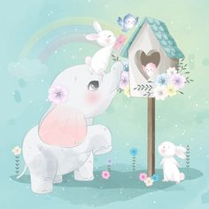 Cute Little Elephant And Bunny Playing With A Bird Little Elephant, Cute Elephant, Colorful Drawings, Cute Drawings, Baby Animal Drawings, Cute Animal Illustration, Elephant Birthday, Elephant Nursery, Cute Chibi