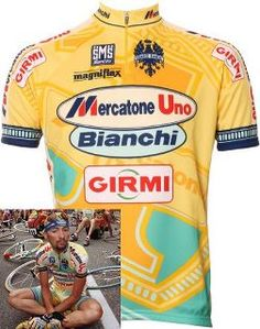 Classic Giro d'Italia jerseys. Marco Pantani  (remember the rule for bike kit: you can wear a pro team's kit if the team is defunct) Well, it's more of a guideline than a rule....