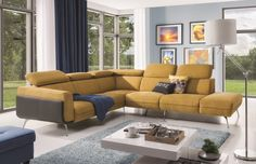 Moderní sedací souprava Florida je vysoce komfortní a díky potahové látce a celkovému provedení velice elegantní. 🛋️💛 Angles, Canape D Angle Design, Sofa, Couch, Design Moderne, Florida, Furniture Design, Interior Design, Poland