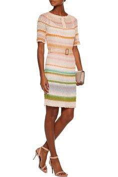 Shop on-sale Missoni Belted crochet-knit dress. Browse other discount designer Dresses & more on The Most Fashionable Fashion Outlet, THE OUTNET.COM