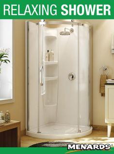 Maax Shower Wall Set 36 in L x 36 in W x 77 in H Round 3 Shelves Acryl Shower Door Seal, Glass Shower Doors, Bathroom Doors, Bathroom Ideas, Bathrooms, Small Bathroom, Corner Shower Stalls, Shower Installation, Glass Shower Enclosures