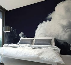 15 of the coolest bedroom murals ideas .- 15 der kühlsten schlafzimmer wandgemälde ideen … 15 of the coolest bedroom mural ideas - Bedroom Murals, Bedroom Decor, Wall Decor, Modern Bedroom, Black Bedroom Walls, Wall Paper Bedroom, Cloud Bedroom, Monochrome Bedroom, Silver Bedroom
