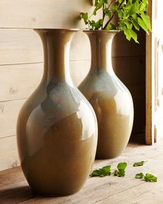 Two Dripping Olive Floor Vases traditional vases