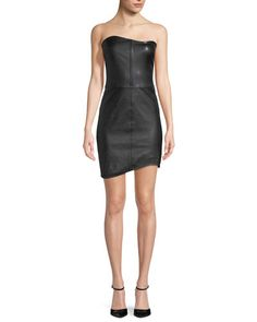 TWR4Y Helmut Lang Strapless Fitted Leather Mini Cocktail Dress