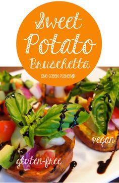 http://onegr.pl/12imCkX #vegan #vegetarian #sweet #potato #bruschetta #glutenfree #appetizer