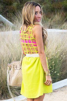 NEON BACK CUTOUT DRESS - Lime Green