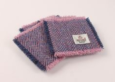 Set of 4 Coasters Harris Tweed Lilac Herringbone by MyScottishHome on Etsy