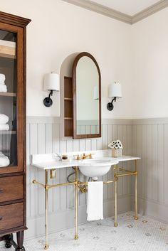 Dark Wood Bathroom, Bathroom Paneling, Cozy Bathroom, Bathroom Mirror Cabinet, Mirror Cabinets, Bathroom Interior, Office Bathroom, Downstairs Bathroom, Bathroom Inspo