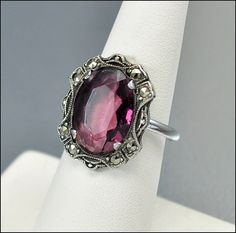 Marcasite Sterling Silver Art Deco Ring Purple Glass. Can never get enough vintage!