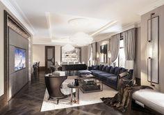 Four Seasons Hotel & Residences Astana Condo Design, Lounge Design, Interior Design, Home Living Room, Living Spaces, Living Area, Hotel Lounge, Elegant Living Room, Hotel Interiors