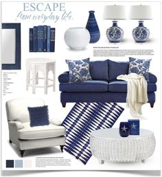Navy Blue And White Living Room Decor Coastal Living Rooms, New Living Room, Living Room Decor Blue, Blue Living Room Furniture, Blue Home Decor, Navy Blue Decor, Navy Living Rooms, Bedroom Furniture, Blue And White Living Room