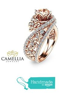 Peach Pink Morganite Ring Unique 14K Rose Gold Wedding Ring Custom Design Ring with Natural Side Diamonds Nature Inspired Engagement Ring Unique Alternative Ring Floral Bridal Ring from Camellia-Jewelry https://www.amazon.com/dp/B01EG1G9JE/ref=hnd_sw_r_pi_awdo_KIQKybTD39BA3 #handmadeatamazon