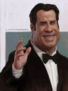 John travolta caricature painting., Orange Buddhas on ArtStation at https://www.artstation.com/artwork/john-travolta-caricature-painting