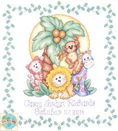 cross stitch patterns birth record elephant | Design Works - Jungle Friends Birth Record - Cross Stitch World