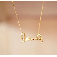 $0.99 1pc Sweet Fancy Letter Love Pearl Chain Pendant Necklace - BornPrettyStore.com