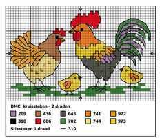 Chickens and rooster...nice cross stitch designs!