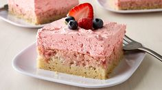 Looking for delicious dessert? Then check out these strawberry cream squares made using Pillsbury® refrigerated sugar cookies.