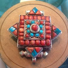 Sterling Tibetan Coral And Turquoise Gau Buddhist Prayer Box Pendant