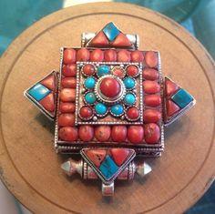 Sterling Tibetan Coral And Turquoise Gau Buddhist Prayer Box Pendant