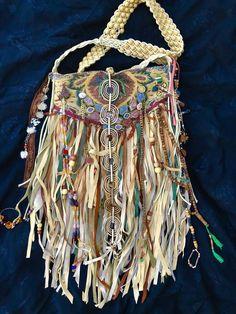 Handmade Earthy Warm Colors* Leather Fringe Bag Boho Hippie Artisan Purse B.Joy    eBay