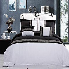 7pc Luxury Duvet Cover Set - Astrid Black & White Embroidered Euro Shams Pillows