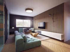 design studio proxy has presented its vision for an apartment located in macedonia. the apartment, entitled 'vi interior' is based on cycles of day & night. Living Room Wall Units, Living Room Designs, Living Spaces, Interior Desing, Apartment Interior Design, Wall Wood Panels Design, Wood Slat Wall, Wood Paneling, Living Room New York