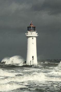 Lighthouse in an Irish Sea Storm -New Brighton's Perch Rock
