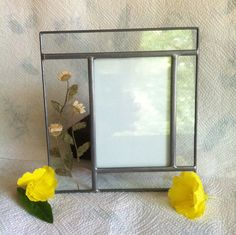 Stained Glass Floral Photo Frame Carr Botanical от PamsPawsJewelry