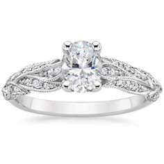 Oval Cut Plume Diamond Engagement Ring - 18K White Gold
