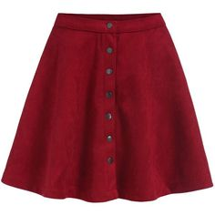 Romwe Single-breasted Flare Red Skirt (3.855 HUF) ❤ liked on Polyvore featuring skirts, red, short skirts, flared hem skirt, red flare skirt, flare skirt and red knee length skirt