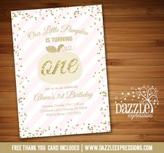 Printable Pink and Gold Glitter Pumpkin Birthday Invitation | Glitter Confetti | Girls 1st Birthday Party | Fall | October | Party Package Decorations Available!  Banner | Cupcake Toppers | Favor Tag | Food and Drink Labels | Signs |  Candy Bar Wrapper | www.dazzleexpressions.com