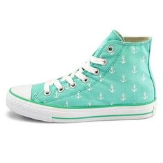 Pure And Fresh And Lovely Navy Sail.. anchor converse mint turquoise cute kawaii