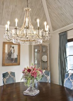 The Peak of Tres Chic: Love the draperies, ceiling, chandelier, and chairs.