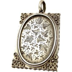 Victorian Sterling Silver Book Shaped Locket Ivy Leaf Cartouche