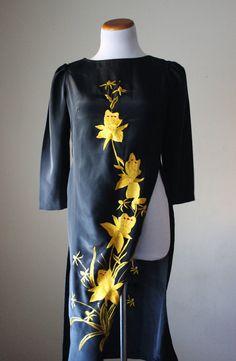 Vintage black dress pelvage tunic Oriental by StarsonMarsJewelryCo