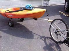 Kayak Storage Trailer At The Helm: Kayak Trailer for a Bicycle (Mountain Bike) Made from Aluminum Crutches Kayaking Outfit, Kayaking Gear, Kayak Camping, Kayak Fishing, Canoeing, Fishing Tips, Kayak Bike Trailer, Trailer Diy, Bike Trailers