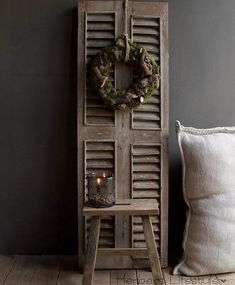 Vintage Shutters, Sober Living, Window Frames, Modern Farmhouse, Ladder Decor, Primitive, Repurposed, Home And Garden, Doors
