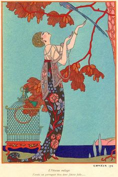 "French illustrator George Barbier led the ultra fashionable ""Knights of the Bracelet"" school of artists throught the 1910′s & 20′s."