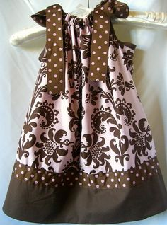 Custom Handmade Pink and Brown Floral Pillowcase Dress Beautiful Fleur De Lis Motif Soft Cotton Fabric with Very Cute Pink and Brown Polka Dot Ribbon