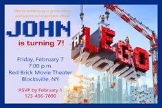 LEGO MOVIE Birthday Party Invitation  by twotwelvedesigns on Etsy, $5.50 #lego #movie #invitation
