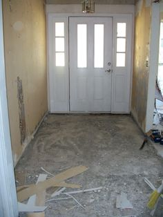 Entryway before the tile