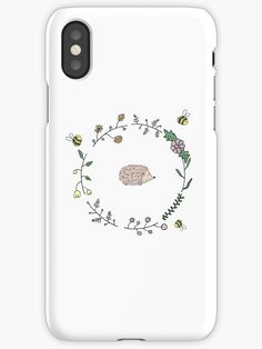 Buy 'Hedgehog and Little Bees Floral Wreath' by TFEdesigns as a iPhone Case/Skin, iPhone Wallet, Case/Skin for Samsung Galaxy, Throw Pillow, Tote Bag, Studio Pouch, Mug, Greeting Card, iPad Case/Skin, Laptop Skin, Laptop Sleeve, Spiral Not...