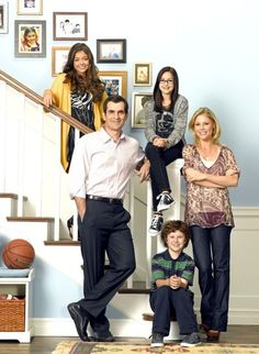 A modern family and an interesting use of a set of stairs.