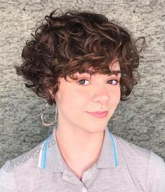 60 Most Delightful Short Wavy Hairstyles Short Pixie Bob For Curly Hair Short Wavy Haircuts, Short Curly Pixie, Short Curly Hairstyles For Women, Short Curls, Haircuts For Curly Hair, Curly Hair Cuts, Short Hair Cuts, Curly Hair Styles, Celebrity Hairstyles