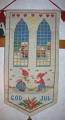 Primitive Vintage Christmas Cross Stitch Wall Hanging GOD JUL Holiday Banner